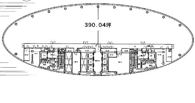 品川インターシティA棟:基準階図面