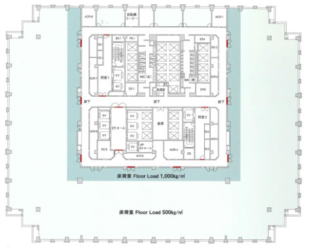 品川グランドセントラルタワーの基準階図面