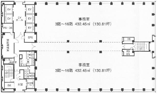 新宿三井ビルディング二号館 8F 130.81坪(432.42m<sup>2</sup>) 図面