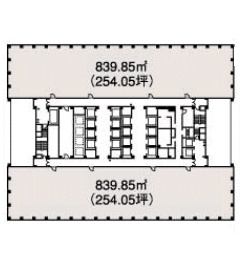 新宿三井ビルディング 17F 254.05坪(839.83m<sup>2</sup>):基準階図面