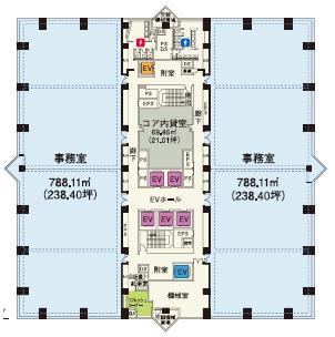 西新宿三井ビルディング 1F 134.46坪(444.49m<sup>2</sup>):基準階図面