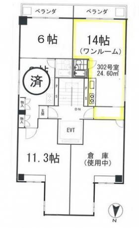 渋谷幸ビル:基準階図面
