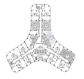 ニューオータニ・ガーデンタワー:基準階図面
