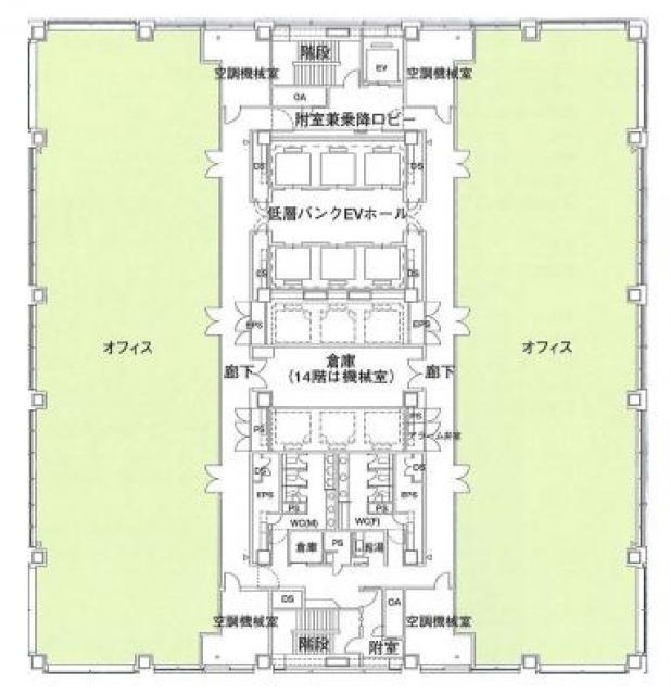 太陽生命品川ビルの基準階図面