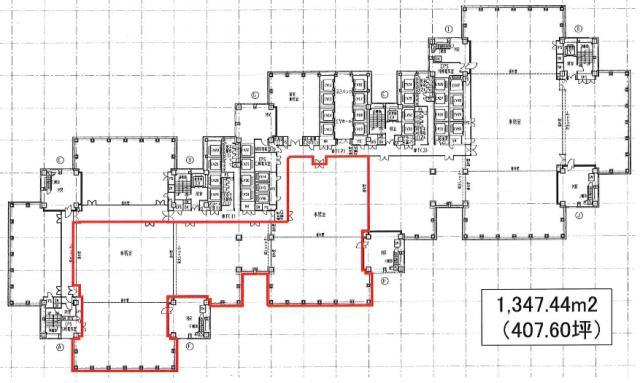 新宿パークタワー 20F 407.6坪(1347.43m<sup>2</sup>) 図面