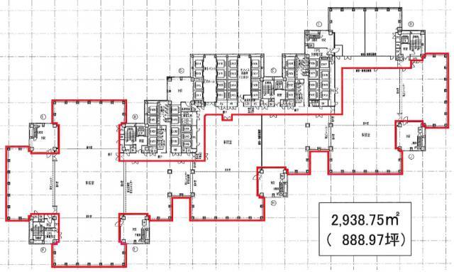 新宿パークタワー 11F 888.97坪(2938.73m<sup>2</sup>) 図面