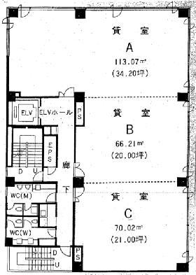 西船橋NST第二ビルビル:基準階図面