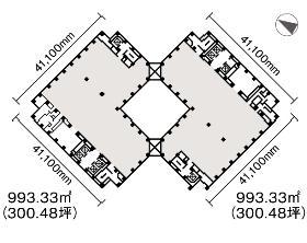 虎ノ門ツインビルディング:基準階図面
