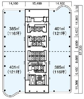 クイーンズタワーAビル:基準階図面