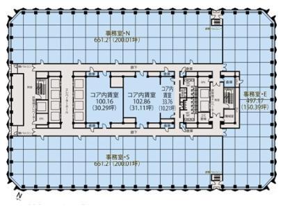 新宿センタービル 31F 72.87坪(240.89m<sup>2</sup>) 図面