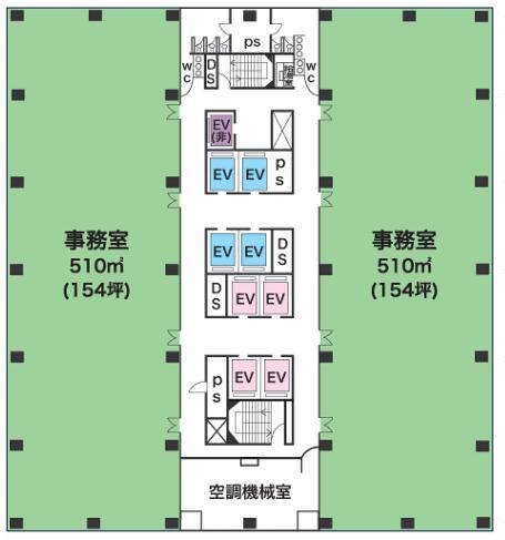 新宿グリーンタワーの基準階図面