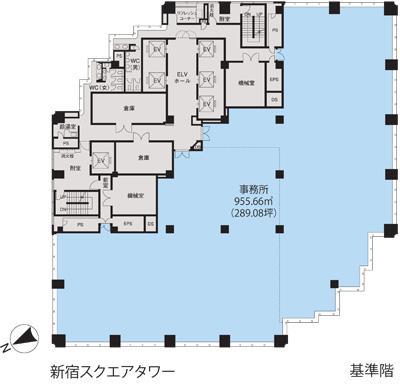 新宿スクエアタワー 8F 78.7坪(260.16m<sup>2</sup>) 図面