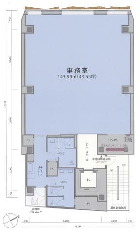 AD-O渋谷道玄坂ビルの基準階図面