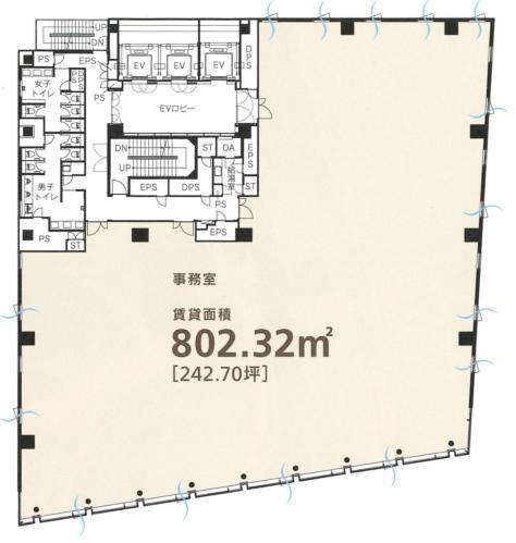 東急四谷ビル 7F 242.69坪(802.27m<sup>2</sup>) 図面