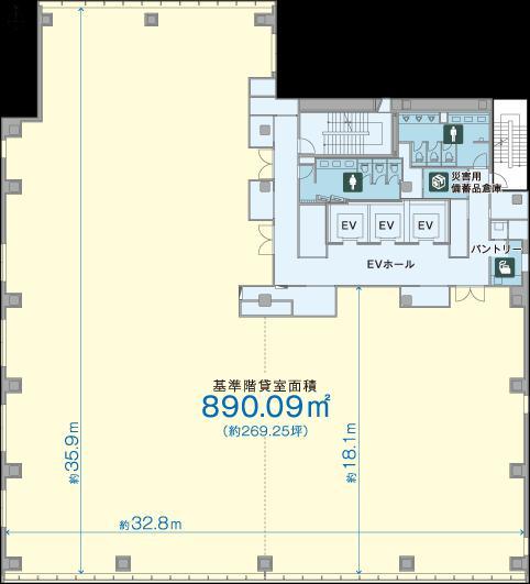 BIZCORE神保町ビル 1F 22.02坪(72.79m<sup>2</sup>) 図面