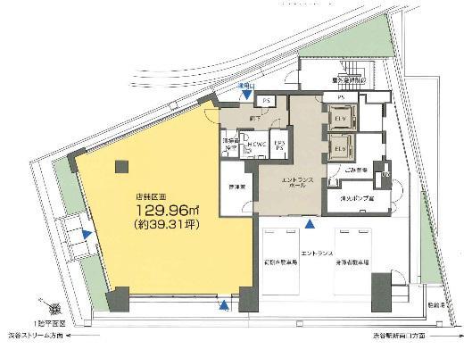 渋谷S.野口Bldg. 1F 39.31坪(129.95m<sup>2</sup>) 図面