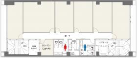 クロスオフィス新宿ビル:基準階図面