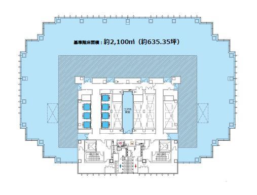 仮)四谷駅前再開発事業 12F 635.35坪(2100.32m<sup>2</sup>) 図面
