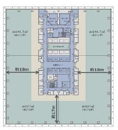 仮)神田錦町二丁目計画 17F 890坪(2942.14m<sup>2</sup>) 図面