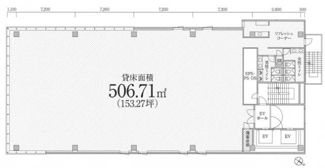 PMO八丁堀新川ビル 4F 153.27坪(506.67m<sup>2</sup>) 図面