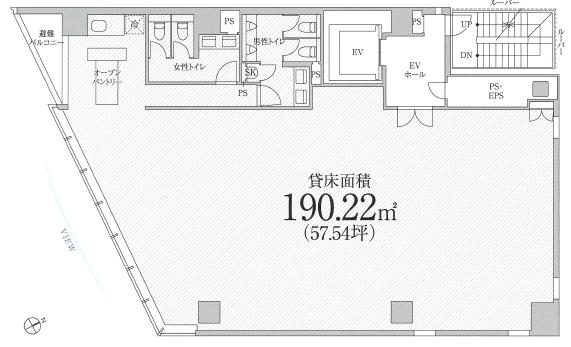 PMO京橋東ビル 10F 57.54坪(190.21m<sup>2</sup>) 図面