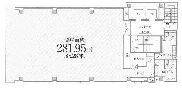 PMO御茶ノ水ビル 8F 85.28坪(281.91m<sup>2</sup>) 図面