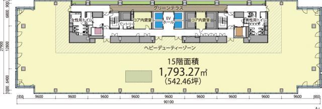 (仮称)南平台プロジェクト 18F 528.9坪(1748.42m<sup>2</sup>) 図面