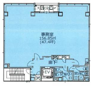 英ビル 5F 47.4坪(156.69m<sup>2</sup>) 図面