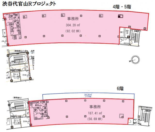 渋谷ブリッジ 4F 94.76坪(313.25m<sup>2</sup>) 図面