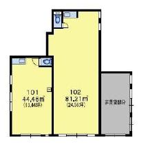 仮称)千駄ヶ谷4丁目ビル 1F 13.44坪(44.42m<sup>2</sup>) 図面