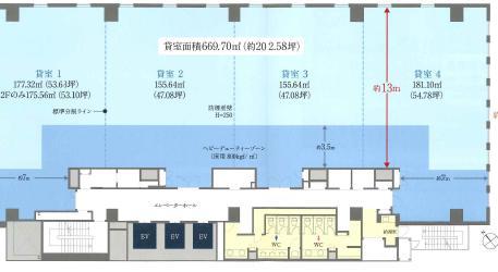 日本生命日本橋ビル 3F 202.58坪(669.68m<sup>2</sup>) 図面