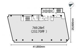 (仮)新宿三丁目ビル:基準階図面