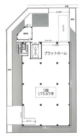 辰巳3丁目倉庫ビル:基準階図面