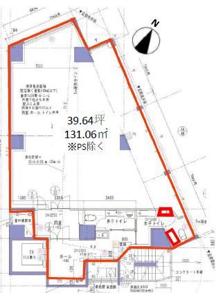 仮称)渋谷1丁目計画ビル 6F 39.64坪(131.04m<sup>2</sup>):基準階図面