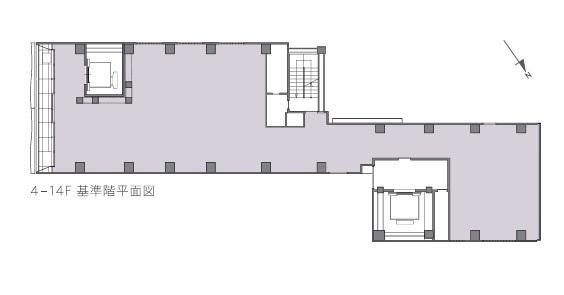 仮称)中埜産業 銀座5丁目プロジェクトビル 14F 55.83坪(184.56m<sup>2</sup>):基準階図面