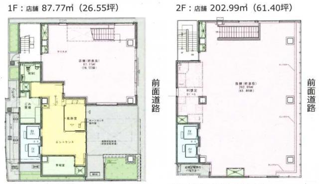 (仮)銀座三丁目計画ビル 1F~2F 87.95坪(290.74m<sup>2</sup>) 図面