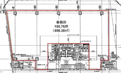 (仮称)神南一丁目計画ビル 4F 150.76坪(498.37m<sup>2</sup>) 図面