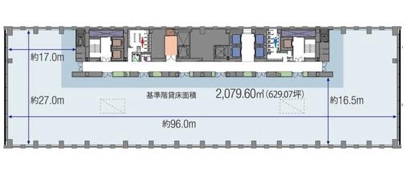 日比谷パークフロント 14F 629.72坪(2081.71m<sup>2</sup>) 図面