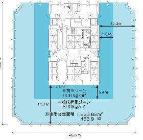 愛宕グリーンヒルズMORIタワー:基準階図面